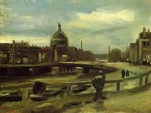 Вид на Амстердам с центрального вокзала (View on the Singel in Amsterdam), 1885 - Гог, Винсент ван