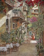 Улочка и кафе в Ретимно, Крит, Греция - Борелли, Гвидо (20 век)