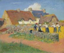 Молотьба пшеницы в деревне - Море, Анри