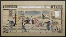 Кутеж при лунном свете на Дозо Сагами - Китагава Утамаро