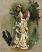 Молодая женщина с зонтиком, 1868 - Ренуар, Пьер Огюст