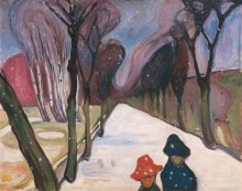 Аллея с первым снегом - Мунк, Эдвард