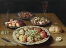 Натюрморт из фруктов и орехов, хлеба, двух бокалов вина и ножа - Берт, Осиас