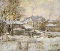 Пейзаж с эффектами снега и заходящего солнца - Моне, Клод