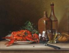 Натюрморт с лобстером, редисом и бутылкой вина - Кройцер, Винценц