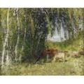 Стадо в березовой роще возле Крез (The Herd in Birch Grove near the Creuse) - Монтезин, Пьер Эжен