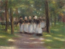 Воскресный полдень в Ларен-Аллей с девушками, 1897 - Либерман, Макс