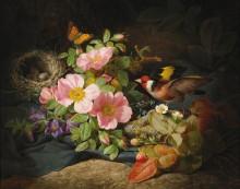 Цветочный натюрморт со щеглом и птичьим гнездом - Лауэр, Йозеф
