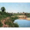 Деревня на берегу реки. 1883 - Левитан, Исаак Ильич