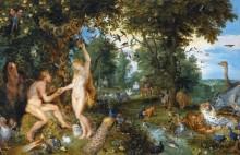 Эдемский сад с искушением Адама - Брейгель, Ян (Старший)