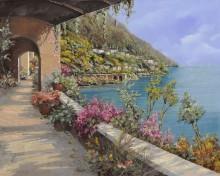 Терраса с цветами на берегу моря - Борелли, Гвидо (20 век)