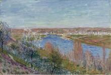 Деревня в Шампани, закат, апрель, 1885 - Сислей, Альфред