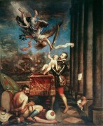 Филипп II вручает Богу сына принца Фердинанда после победы при Лепанто - Тициан Вечеллио