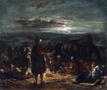 Арабский лагерь ночью - Делакруа, Эжен