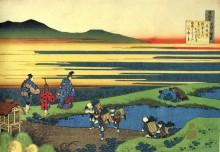 Рисовые поля - Кацусика, Хокусай