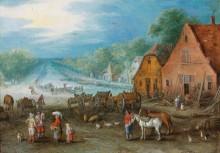 Деревенский пейзаж с каналом и двумя мастерскими - Брейгель, Ян (Старший)