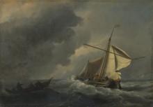 Голландский корабль  во время  сильного ветра - Велде, Виллем ван де (Младший)