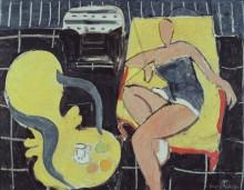 Танцовщица и кресло в стиле рококо на черном фоне - Матисс, Анри