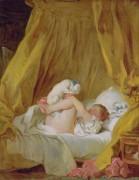Девушка с собачкой - Фрагонар, Жан Оноре