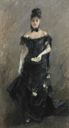 Женщина в черном платье в театре - Моризо, Берта