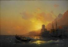 Закат над Великой Лаврой на горе Афон - Айвазовский, Иван Константинович