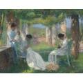 Женщины, занятые шитьем в тени перголы - Мартен, Анри Жан Гийом