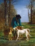 Егерь со своими собаками - Труайон, Констан