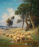Пастушка со стадом у реки - Клэр, Шарль