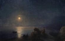 Древнегреческие поэты-классики на берегу лунной ночью - Айвазовский, Иван Константинович