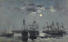 Корабли в лунном свете близ Портриё - Буден, Эжен