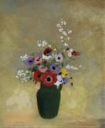 Большая зеленая ваза с разными цветами - Редон, Одилон