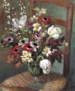Тюльпаны и анемоны на стуле, 1950 - Диф, Марсель