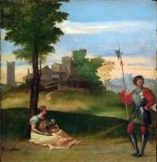 Идиллия - Мать с ребенком и алебардщик в пейзаже - Тициан Вечеллио