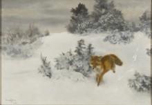 Бегущая лиса в зимнем пейзаже - Лильефорс, Бруно
