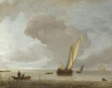 Малые голландские судна перед слабым ветром - Каппель, Ян ван де