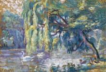 Семья лебедей  (лес Булонь) - Кросс, Анри Эдмон