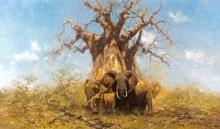 Стадо слонов под баобабом - Шеперд, Девид (20 век)