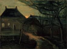 Дом священника в Нуэнене при лунном свете (The Parsonage at Nuenen at Dusk, Seen from the Back), 1885 - Гог, Винсент ван