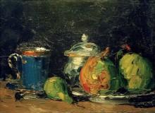 Сахарница, груши и синяя чашка - Сезанн, Поль