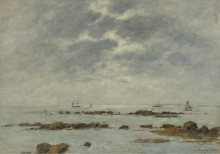 Морской пейзаж в Санкт- Вааст-Ла Хог, 1892 - Буден, Эжен