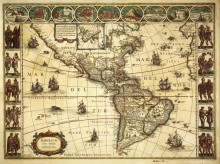 Карта Америки 1640г.