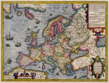 Карта Европы. 1596 г.