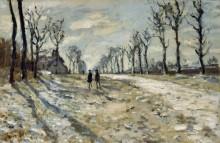 Зимний пейзаж на закате дня - Моне, Клод