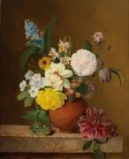 Цветочный натюрморт с розами, нарциссами, гиацинтами и примулами - Грубер, Франц Ксавер