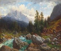 Пейзаж с горным ручьем - Шройерер, Йозеф