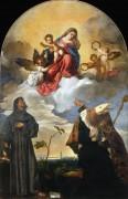Мадонна с Младенцем со святыми Франциском, Людовиком Тулузским и донатором Луиджи Гоцци - Тициан Вечеллио
