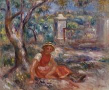 Девушка у дерева - Ренуар, Пьер Огюст