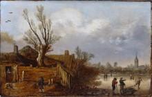 Пейзаж с хижиной и замерзшей рекой - Велде, Эсайас ван де
