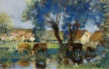 Пейзаж с коровами у воды - Монтезен, Пьер-Эжен
