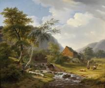 Пейзаж с ручьем и пастухами - Хеллеманс, Пьер Жан